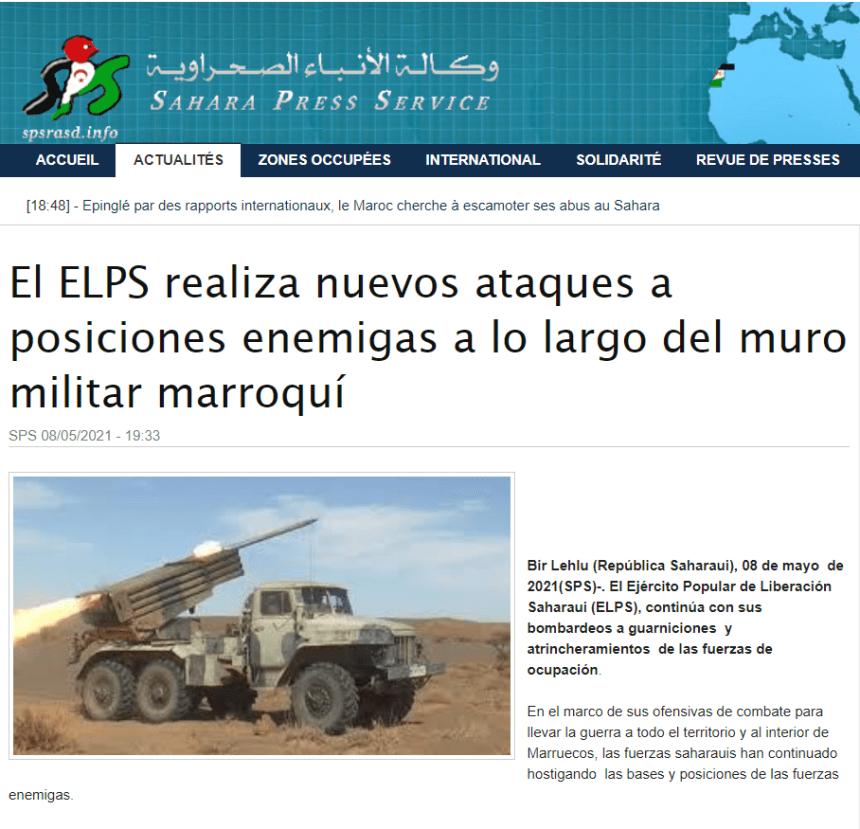 El ELPS realiza nuevos ataques a posiciones enemigas a lo largo del muro militar marroquí   Sahara Press Service