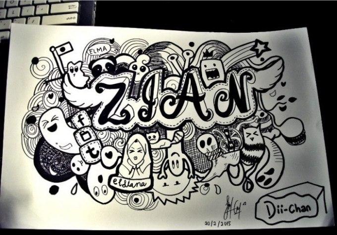 contoh gambar doodle art nama