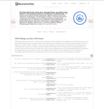 Interaktive KWIC-Suche im LIVE-Korpus (nur Sample für öffentliche Nutzung)