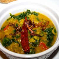 Kale Dal Fry (Indian spiced yellow lentils with Kale)