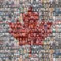 Drapeau canadien constitué de photos de citoyens représentant la mosaïque canadienne