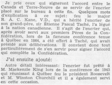 L St-L on the Inkstand HoC Debates Nflnd 1949