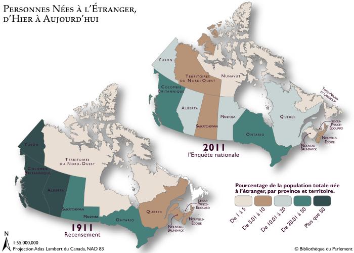 Cartes géographiques montrant le pourcentage de la population canadienne née à l'étranger, selon les recensements de 1911 et 2011