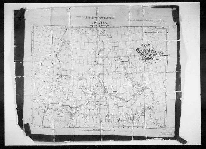 Source : Bibliothèque et Archives Canada (Boundary of the Province of Quebec - Min. Int. [Minister of the Interior] submits Dy. [Deputy] Minister defining, Numéro de décret 1896-2623)