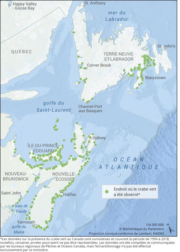 Cette carte illustre les endroits où le crabe vert a été observé sur la côte Atlantique du Canada. Le crabe vert est couramment observé dans le sud du golfe du Saint-Laurent, le long des côtes de l'Île-du-Prince-Édouard, de la Nouvelle-Écosse et du nord-est du Nouveau-Brunswick. Il est également présent dans certaines régions du sud de Terre-Neuve-et-Labrador.