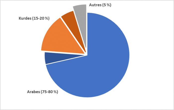 La figure 2 illustre les groupes ethniques en Irak. De 75 à 80% sont arabes, de 15 à 20% sont kurdes et 5% appartiennent à une autre catégorie.