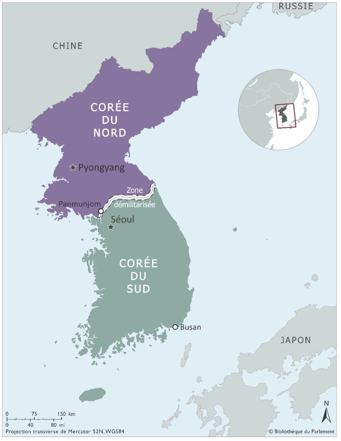 Carte illustrant la Corée du Nord avec sa capitale Pyongyang, et la Corée du Sud avec sa capitale Séoul, ainsi que la ville de Busan dans le sud-est. La zone démilitarisée est définie le long de la frontière entre les deux pays. La ville de Panmunjom est située dans la zone démilitarisée à son extrémité ouest.