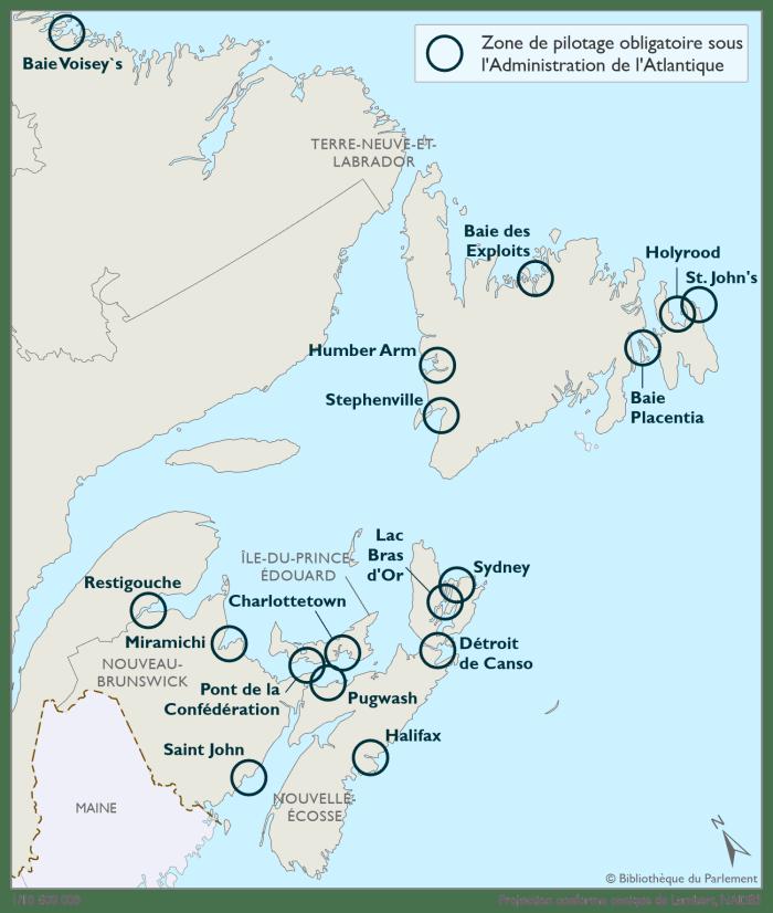 Cette carte illustre les zones de pilotage obligatoire sous l'autorité de l'Administration de pilotage de l'Atlantique, telles que définies dans la Loi sur le pilotage. Les zones de pilotage obligatoire se trouvent dans les eaux canadiennes des provinces de Terre-Neuve-et-Labrador, de l'Île-du-Prince-Édouard, du Nouveau-Brunswick et de la Nouvelle-Écosse, ainsi que dans leurs environs. L'Administration de pilotage de l'Atlantique compte 17 zones de pilotage obligatoire désignées. Elles sont représentées sur la carte par un cercle bleu foncé.