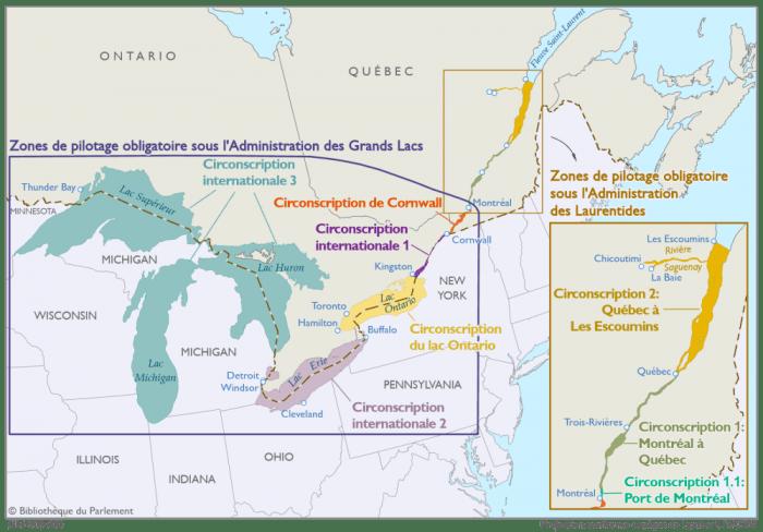 Cette carte illustre les zones de pilotage obligatoire sous l'autorité de l'Administration de pilotage des Grands Lacs et de l'Administration de pilotage des Laurentides, telles que définies dans la Loi sur le pilotage. L'Administration de pilotage des Grands Lacs compte, d'est en ouest, les cinq zones de pilotage obligatoire désignées suivantes : - la circonscription de Cornwall, soit les eaux du fleuve Saint-Laurent entre le port de Montréal et la station d'embarquement de pilotes près de Cornwall; - la circonscription internationale no 1, soit les eaux du fleuve Saint-Laurent de la station d'embarquement de pilotes près de Cornwall à Kingston; - la circonscription du lac Ontario; - la circonscription internationale no 2, soit les eaux du canal Welland, du lac Érié et les eaux de communication entre le lac Érié et le lac Huron; - la circonscription internationale no 3, soit les eaux des lacs Huron, Michigan et Supérieur, y compris les eaux de communication. L'Administration de pilotage des Laurentides compte, du sud ou nord, les trois zones de pilotage obligatoire désignées suivantes : - la circonscription 1.1, soit les eaux du fleuve Saint-Laurent dans le port de Montréal; - la circonscription 1, soit les eaux du fleuve Saint-Laurent entre le port de Montréal et la ville de Québec; - la circonscription 2, soit les eaux du fleuve Saint-Laurent entre Québec et Les Escoumins ainsi que les eaux navigables de la rivière Saguenay.
