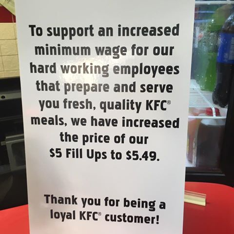 KFC Location blaming workers for higher prices
