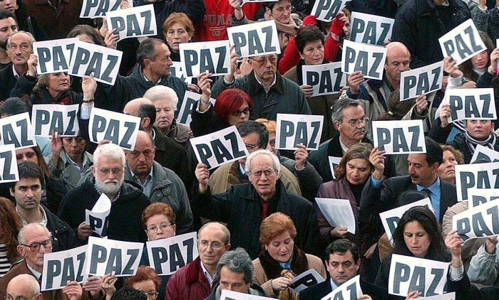 AN ANTI TERRORIST DEMONSTRATION AFTER THE MULTIPLE BOMBINGS OF COMMUTER TRAINS, MADRID, SPAIN - 12 MAR 2004