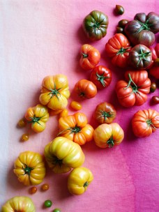 Leigh Beisch Dan Becker Mikhael Romaine Fruits vegetables Heirloom tomato colorful pink red orange yellow ombre gradient organic produce