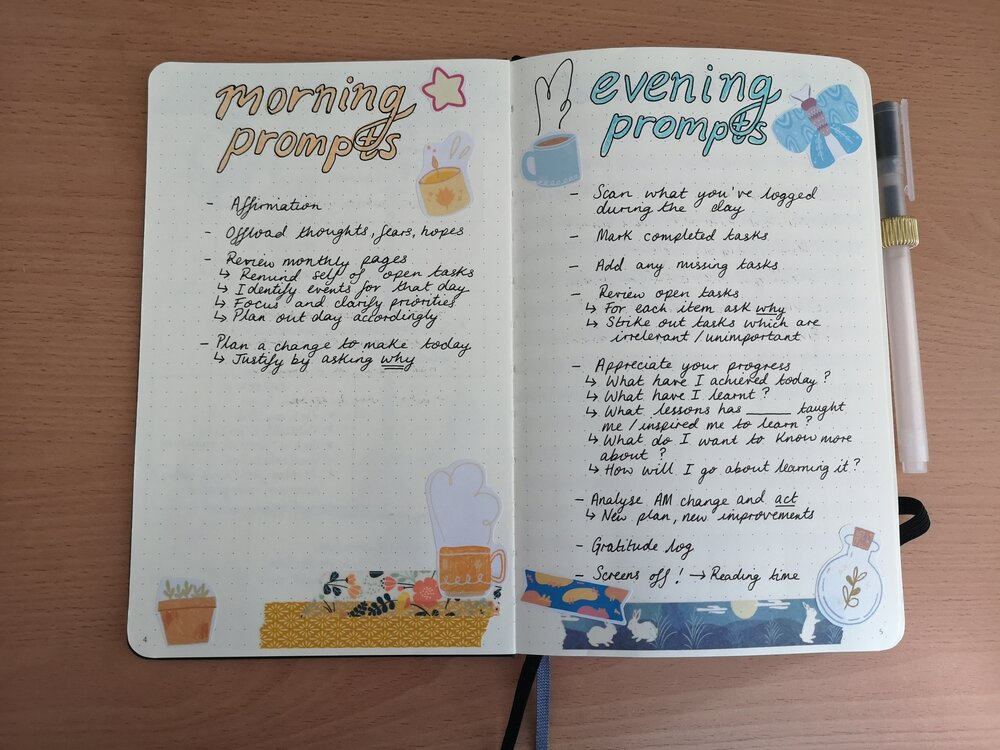 A photo of a bullet journal collection of morning and evening prompts