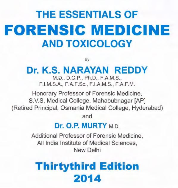 Read more about the article Reddy Forensic Medicine And Toxicology pdf free download