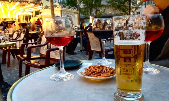 Wine, Kir, and a Demi-peche on Troyes's central square