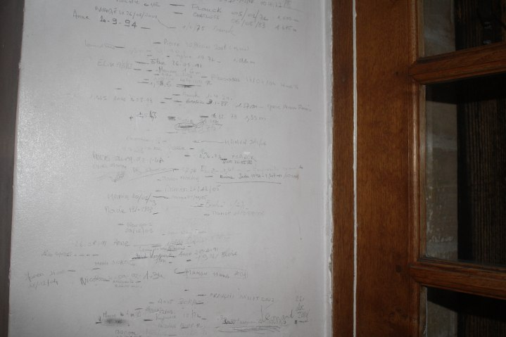 Wall in the Corcini's home that has measurements of all the kids and grandkids going back about 50 years. You can find me there too: Alexandra 17/07/04 16 1/2 years old.