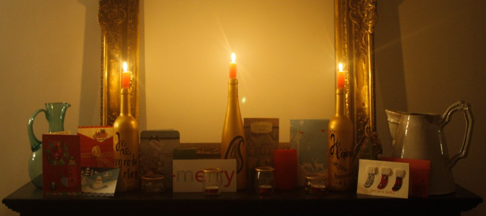 Christmas cards and candle light