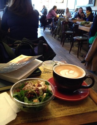 A perfect warm place to escape from the cold for while to read and grab lunch!
