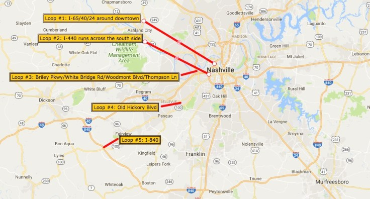 map of 5 Nashville streets that loop around town