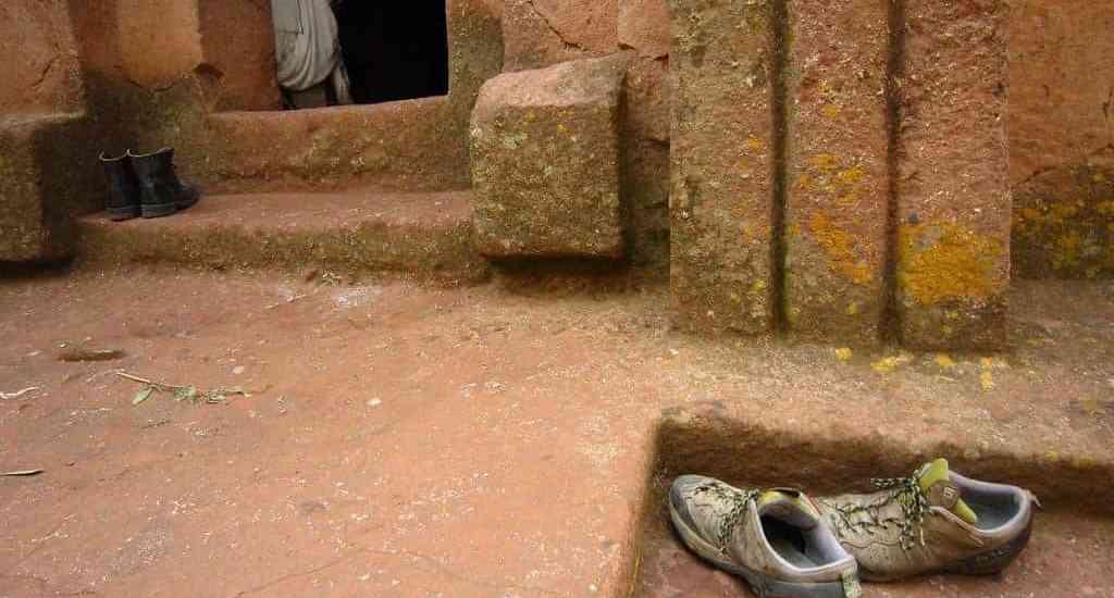 Shoes outside a church in Lalibela, Ethiopia (2012-06)