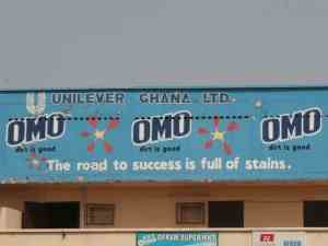 OMO advertising on a house in Ghana (2012-12)