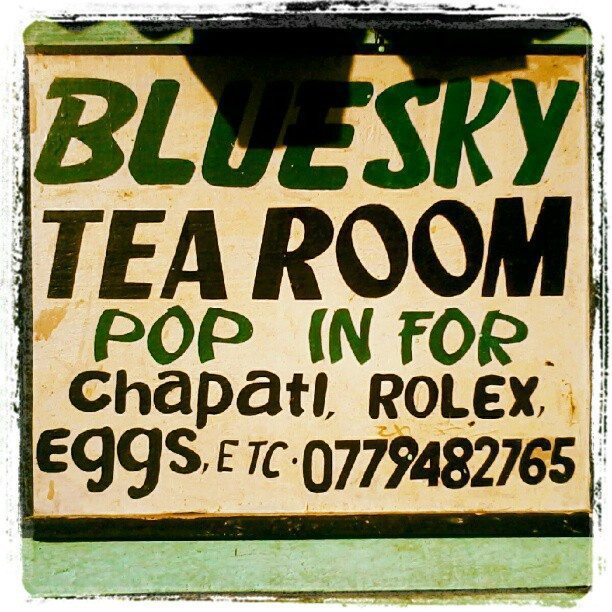Sign for Bluesky Tea Room, Rwenzori Mountains, Uganda (2012-05)