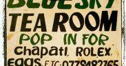Sign for Bluesky Tea Room, Rwenzori Mountains, Uganda (2012-05)