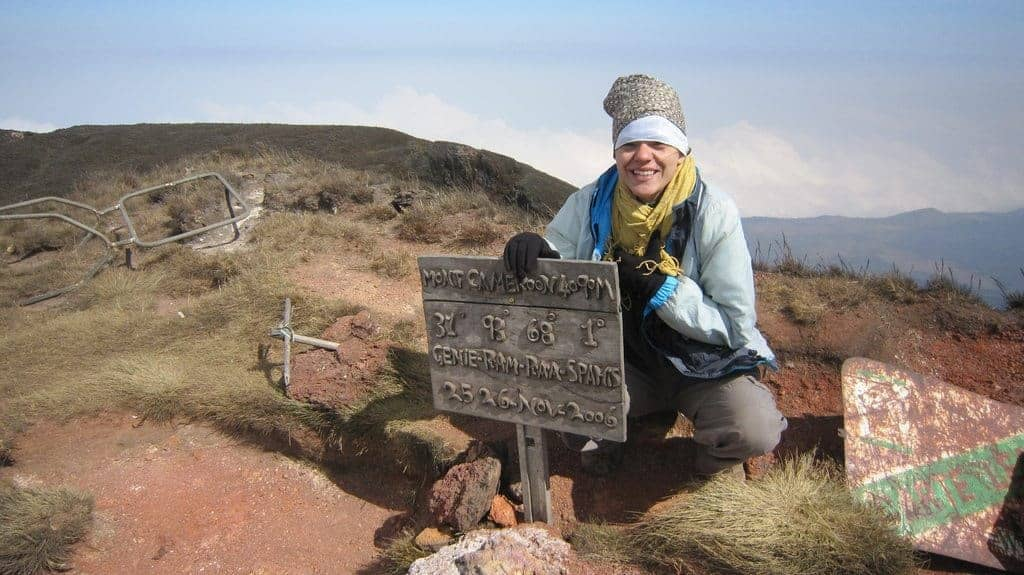 Carola on the summit of Mount Cameroon (2012-01)