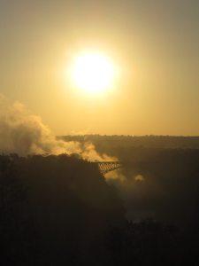 Sunrise over Victoria Falls bridge, Zimbabwe (2012-04)