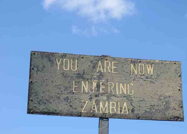 Sign when crossing from Zimbabwe into Zambia (2012-04)