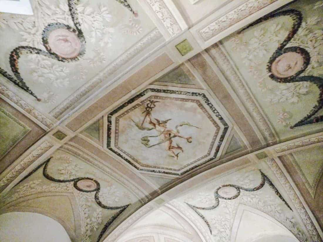 Decorated ceiling at Il Casato hotel, Siena, Tuscany, IT (2015-12-31)