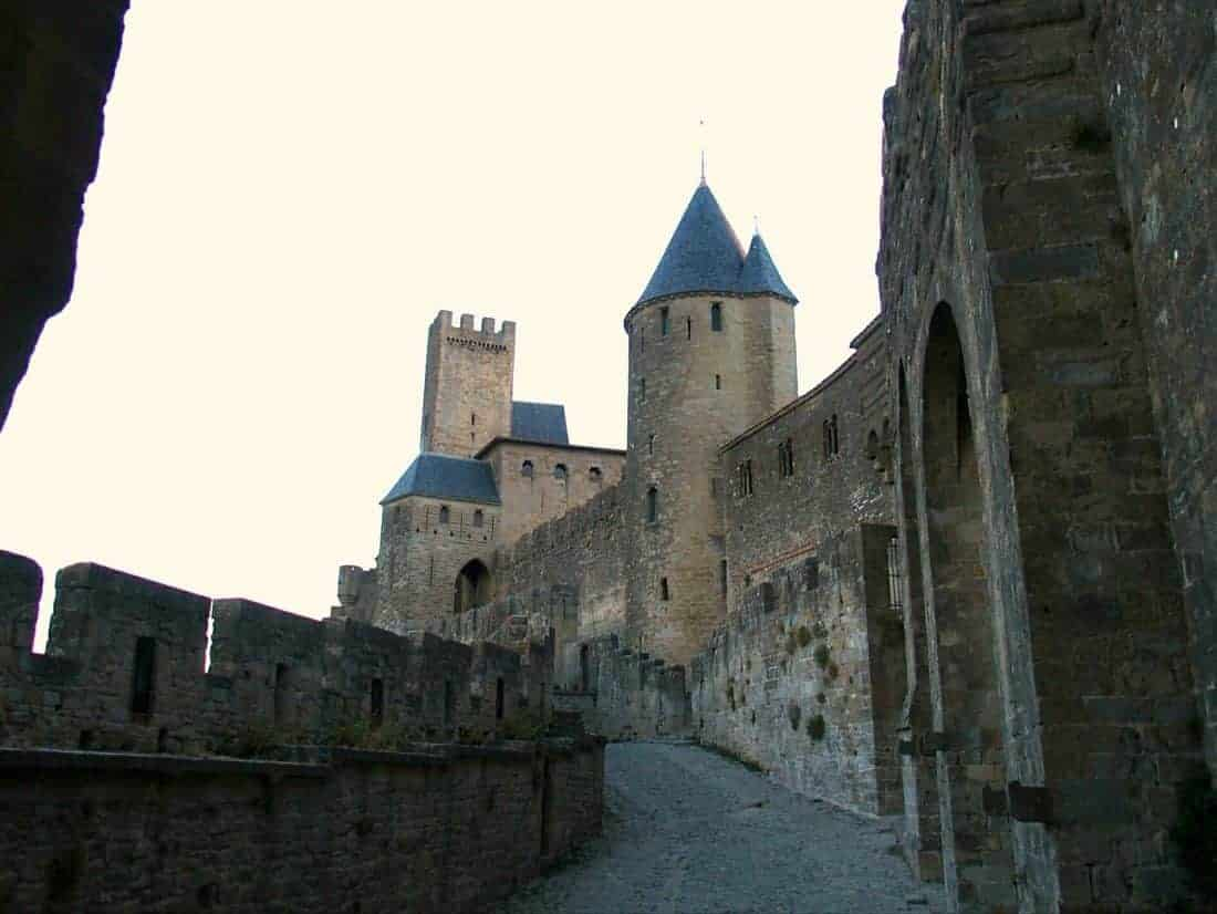 Carcassonne walls at dusk, France (2016-08-23)