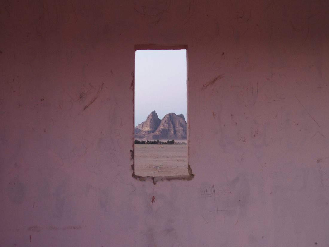Wadi Rum through a pink window, Jordan (2016-12-26)