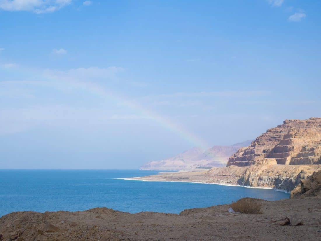 Rainbow over the Dead Sea, Jordan (2016-12-22)