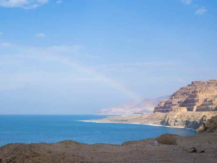 Rainbow over the Dead Sea, Jordan (2016-12-22)