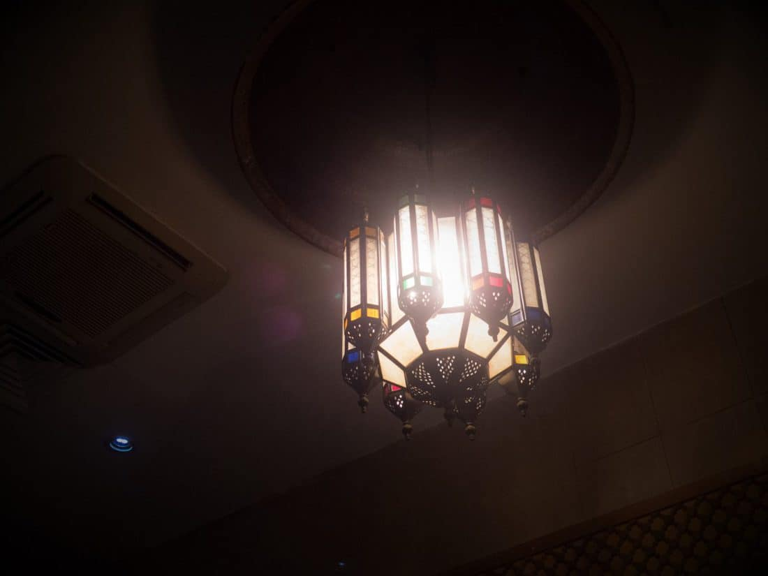 Lamp at Al-Pasha Turkish bath, Amman, Jordan (2016-12-19)