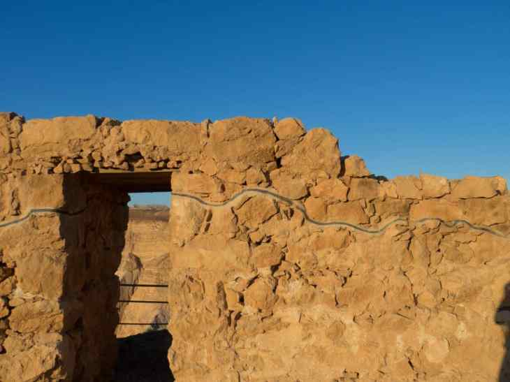 The line marks where restaurations were done, Masada National Park, Israel (2017-01-03)