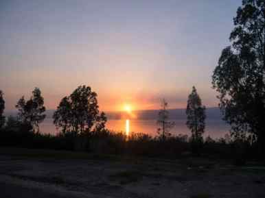 Sunset from the bus, Sea of Galilee, Israel (2017-01-18)