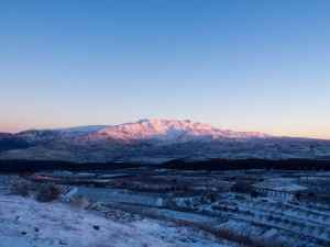 Sunrise view of snowy Mount Hermon, Mount Odem, Golan Heights, israel (2017-01-29)