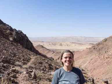 Sweaty Carola in Ramon Crater, Mitspe Ramon, Israel (2017-02-08)
