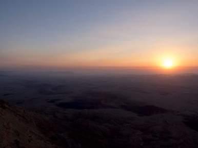 Sunrise over Ramon Crater, Mitspe Ramon, Israel (2017-02-08)