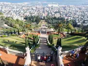 Looking from Louis Promenade into Baha'i Gardens, Haifa, Israel (2016-12)
