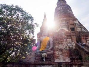 Buddha at Wat Chaimonkhon in the afternoon light, Ayutthaya, Thailand (2017-04)