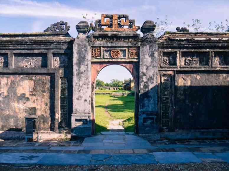 Looking out of a gate at Hue Citadel, Vietnam (2017-06)