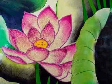 Lotus flower in ceramics art at Ho Chi Minh Museum, Hanoi, Vietnam (2017-07)