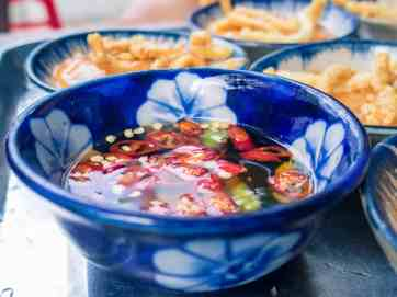 Chili sauce for banh beo street food, Hoi An, Vietnam (2017-05/06)