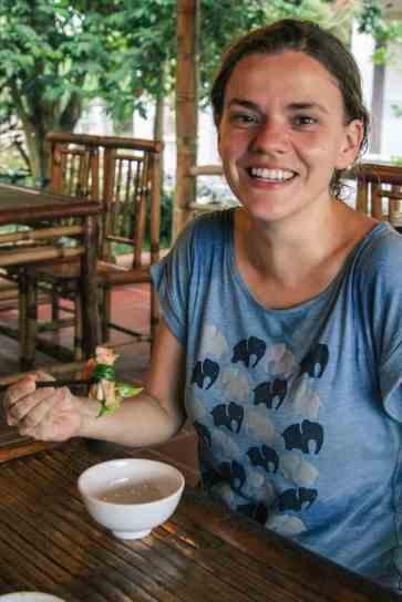 Carola eating Three Friends on Hoi An food tour