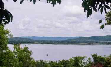 View of Secret Lake with La Plantation pepper farm in the far distance, Kampot, Cambodia (2017-04-29)