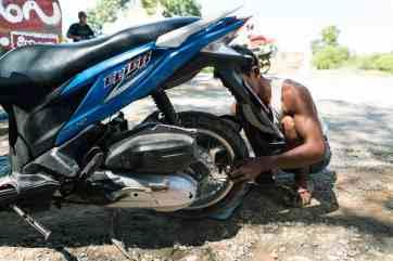 My bike tire being fixed after leaving Inwa, Mandalay, Myanmar (2017-09)