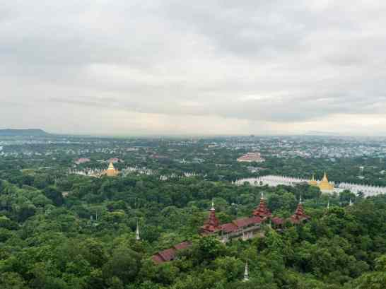 View of Kuthadow Pagoda from Mandalay Hill, Myanmar (2017-09)